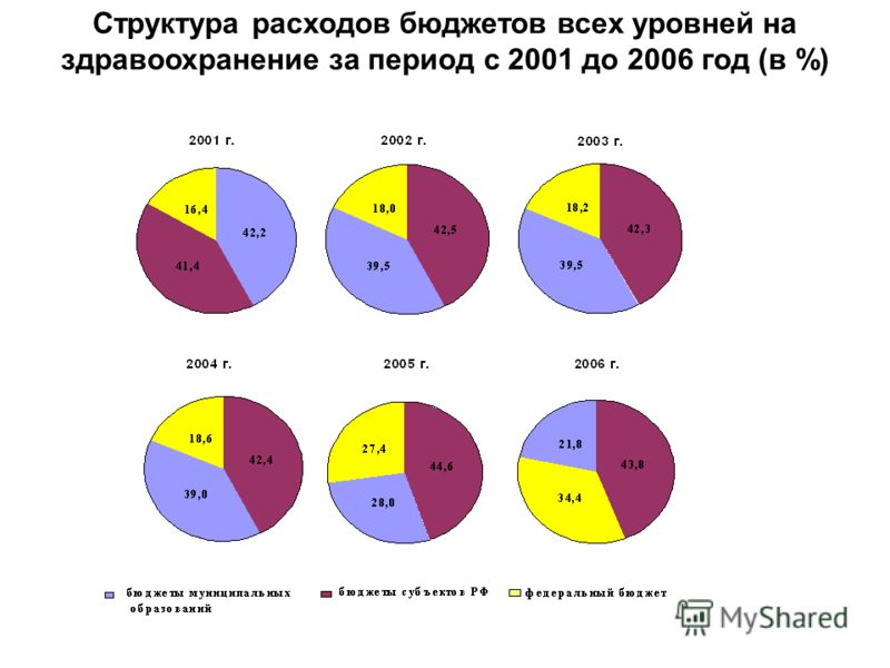 Структура расходов бюджетов всех уровней на здравоохранение за период с 2001 до 2006 год (в %)