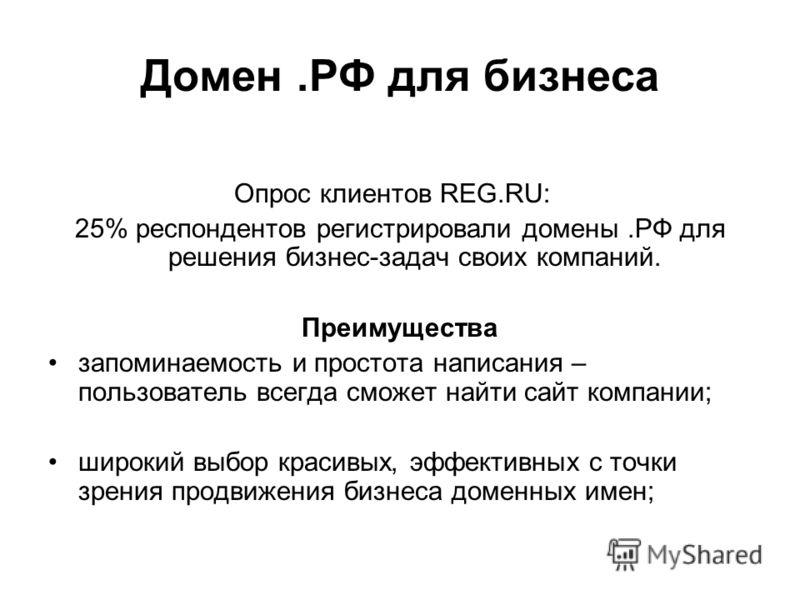 Домен.РФ для бизнеса Опрос клиентов REG.RU: 25% респондентов регистрировали домены.РФ для решения бизнес-задач своих компаний. Преимущества запоминаемость и простота написания – пользователь всегда сможет найти сайт компании; широкий выбор красивых,