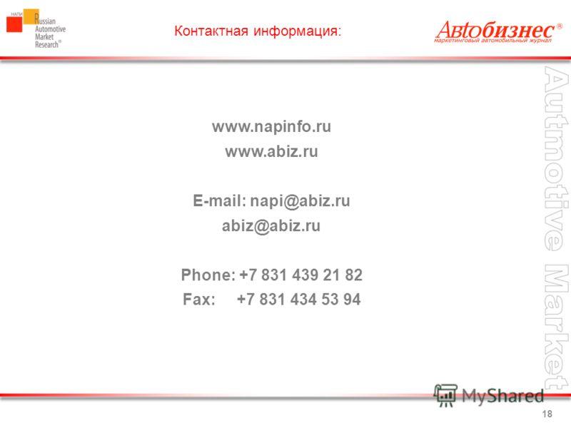 18 Контактная информация: www.napinfo.ru www.abiz.ru E-mail: napi@abiz.ru abiz@abiz.ru Phone: +7 831 439 21 82 Fax: +7 831 434 53 94