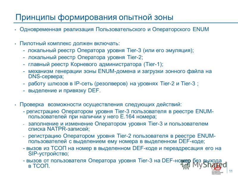 Принципы формирования опытной зоны Одновременная реализация Пользовательского и Операторского ENUM Пилотный комплекс должен включать: - локальный реестр Оператора уровня Tier-3 (или его эмуляция); -локальный реестр Оператора уровня Tier-2; -главный р