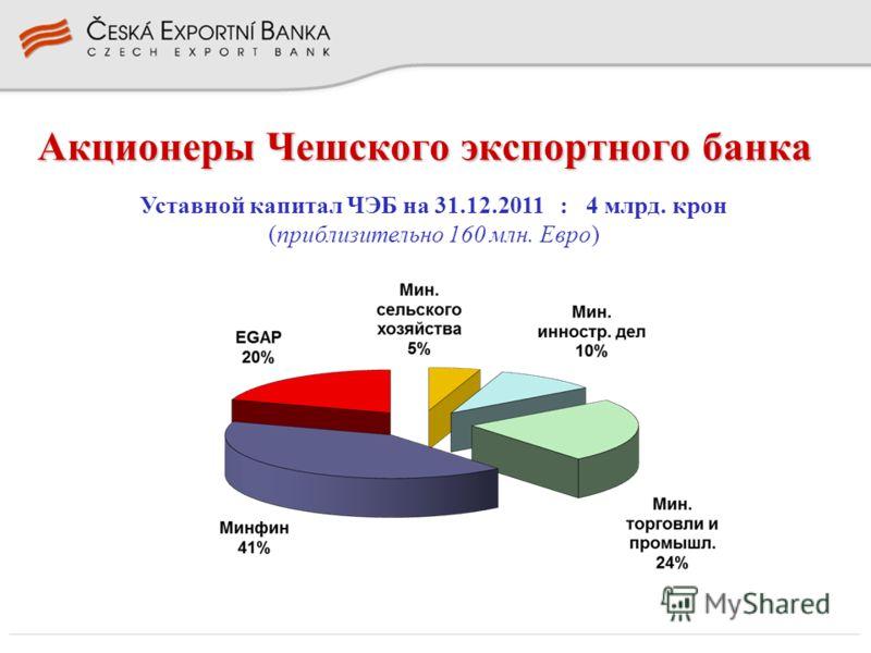 Акционеры Чешского экспортного банка Уставной капитал ЧЭБ на 31.12.2011 : 4 млрд. крон (приблизительно 160 млн. Евро)