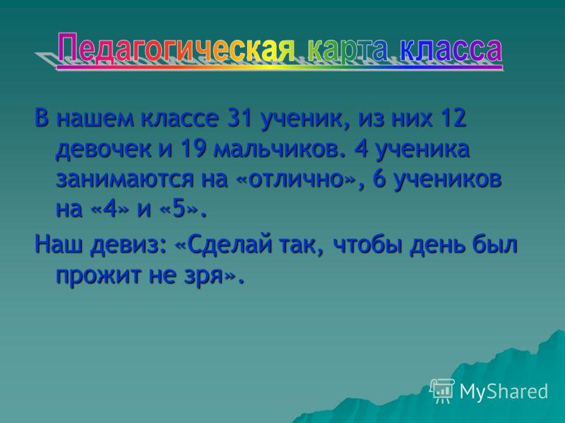В нашем классе 31 ученик, из них 12 девочек и 19 мальчиков. 4 ученика занимаются на «отлично», 6 учеников на «4» и «5». Наш девиз: «Сделай так, чтобы день был прожит не зря».