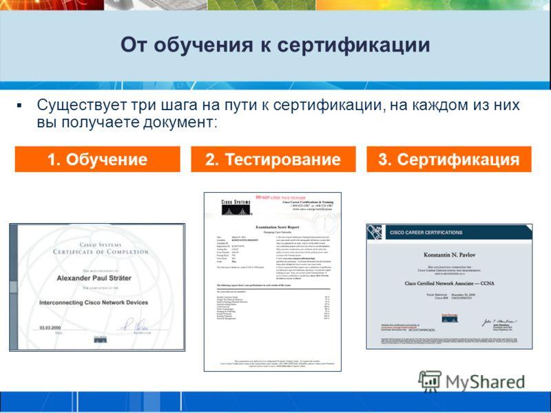От обучения к сертификации Существует три шага на пути к сертификации, на каждом из них вы получаете документ: 1. Обучение2. Тестирование3. Сертификация