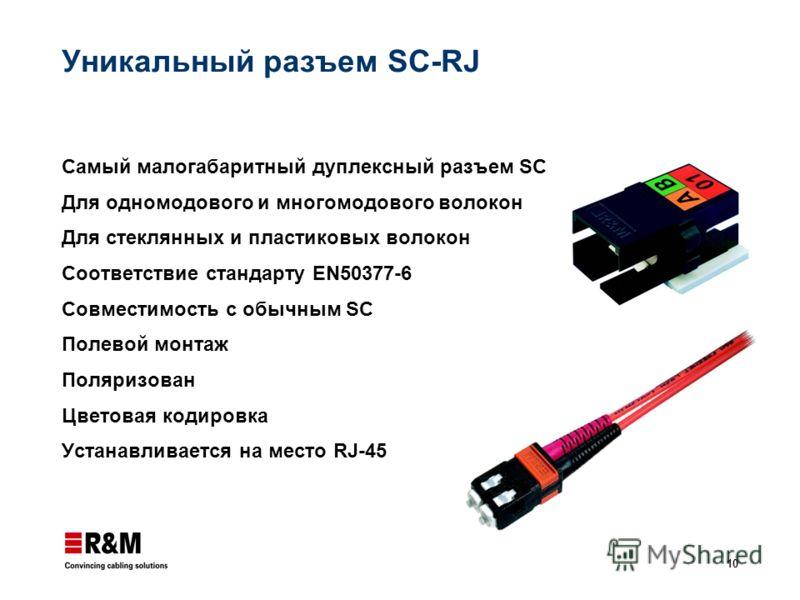 10 Уникальный разъем SC-RJ Самый малогабаритный дуплексный разъем SC Для одномодового и многомодового волокон Для стеклянных и пластиковых волокон Соответствие стандарту EN50377-6 Совместимость с обычным SC Полевой монтаж Поляризован Цветовая кодиров