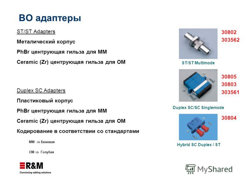 ST/ST Adapters Металический корпус PhBr центрующая гильза для ММ Ceramic (Zr) центрующая гильза для ОМ Duplex SC/SC Singlemode ST/ST Multimode Duplex SC Adapters Пластиковый корпус PhBr центрующая гильза для ММ Ceramic (Zr) центрующая гильза для ОМ К