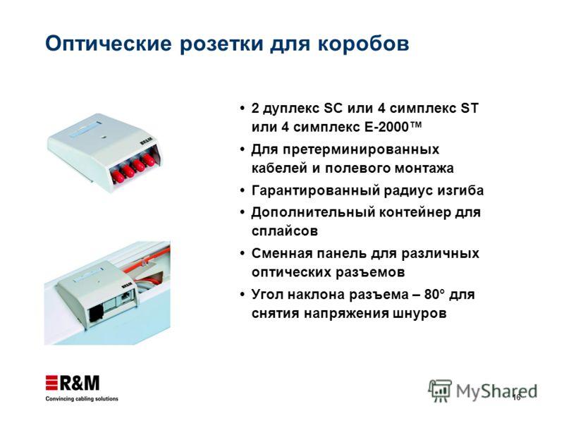 16 Оптические розетки для коробов 2 дуплекс SC или 4 симплекс ST или 4 симплекс E-2000 Для претерминированных кабелей и полевого монтажа Гарантированный радиус изгиба Дополнительный контейнер для сплайсов Сменная панель для различных оптических разъе