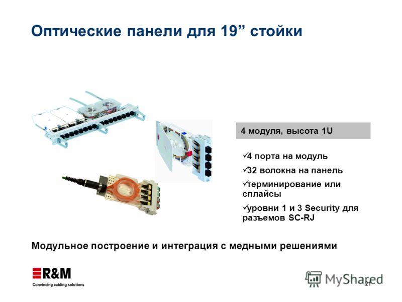 21 Оптические панели для 19 стойки Модульное построение и интеграция с медными решениями 4 модуля, высота 1U 4 порта на модуль 32 волокна на панель терминирование или сплайсы уровни 1 и 3 Security для разъемов SC-RJ