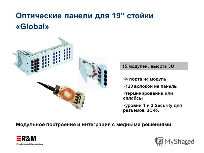 22 Оптические панели для 19 стойки «Global» Модульное построение и интеграция с медными решениями 15 модулей, высота 3U 4 порта на модуль 120 волокон на панель терминирование или сплайсы уровни 1 и 3 Security для разъемов SC-RJ