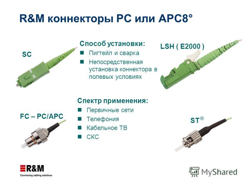 R&M коннекторы PC или APC8° LSH ( E2000 ) FC – PC/APC SC ST ® Спектр применения: Первичные сети Телефония Кабельное TВ СКС Способ установки: Пигтейл и сварка Непосредственная установка коннектора в полевых условиях