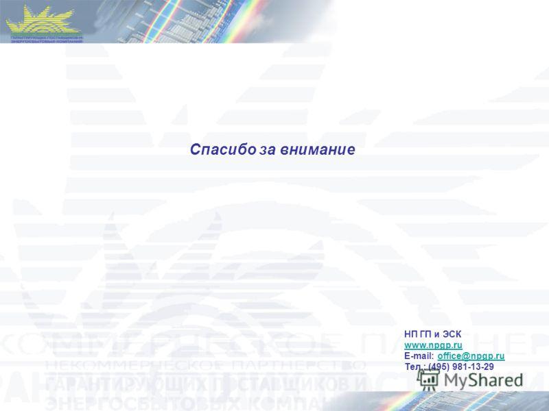Спасибо за внимание НП ГП и ЭСК www.npgp.ru E-mail: office@npgp.ruoffice@npgp.ru Тел.: (495) 981-13-29