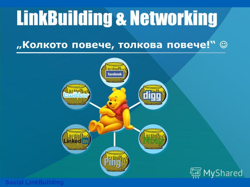 LinkBuilding & Networking Колкото повече, толкова повече! Social LinkBuilding