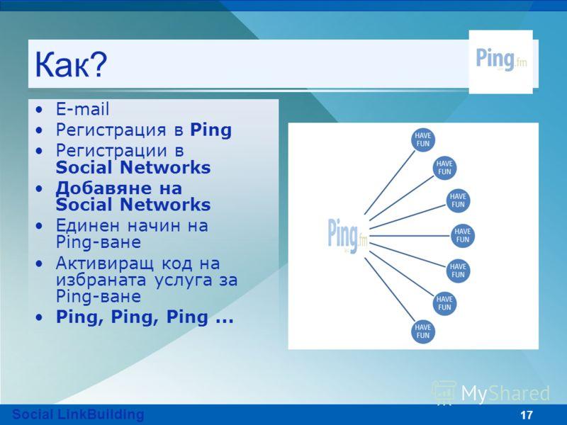17 Как? Е-mail Регистрация в Ping Регистрации в Social Networks Добавяне на Social Networks Единен начин на Ping-ване Активиращ код на избраната услуга за Ping-ване Ping, Ping, Ping... Social LinkBuilding