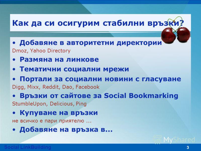 3 Как да си осигурим стабилни връзки? Добавяне в авторитетни директории Dmoz, Yahoo Directory Размяна на линкове Тематични социални мрежи Портали за социални новини с гласуване Digg, Mixx, Reddit, Dao, Facebook Връзки от сайтове за Social Bookmarking