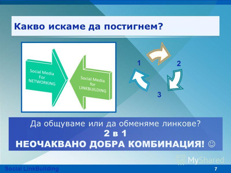 7 Какво искаме да постигнем? 2 3 1 Да общуваме или да обменяме линкове? 2 в 1 НЕОЧАКВАНО ДОБРА КОМБИНАЦИЯ! Social LinkBuilding
