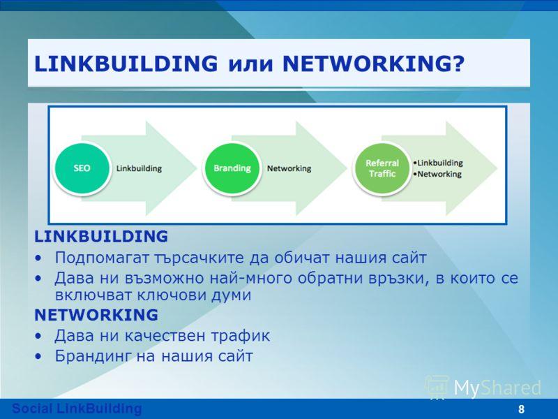 8 LINKBUILDING или NETWORKING? LINKBUILDING Подпомагат търсачките да обичат нашия сайт Дава ни възможно най-много обратни връзки, в които се включват ключови думи NETWORKING Дава ни качествен трафик Брандинг на нашия сайт Social LinkBuilding