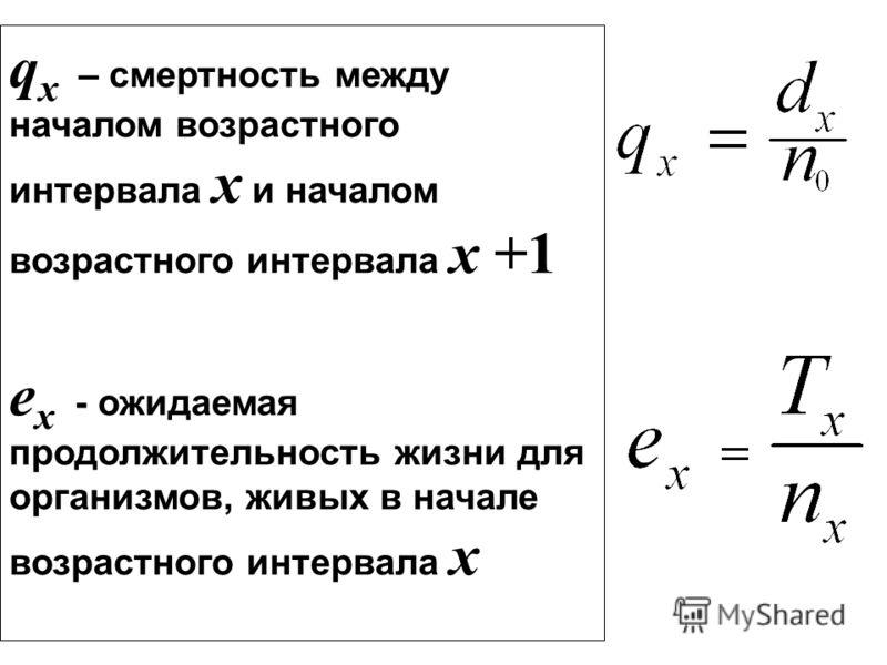 q x – смертность между началом возрастного интервала x и началом возрастного интервала x +1 e x - ожидаемая продолжительность жизни для организмов, живых в начале возрастного интервала x