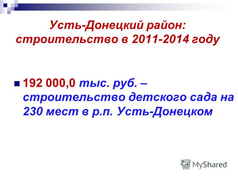 Усть-Донецкий район: строительство в 2011-2014 году 192 000,0 тыс. руб. – строительство детского сада на 230 мест в р.п. Усть-Донецком