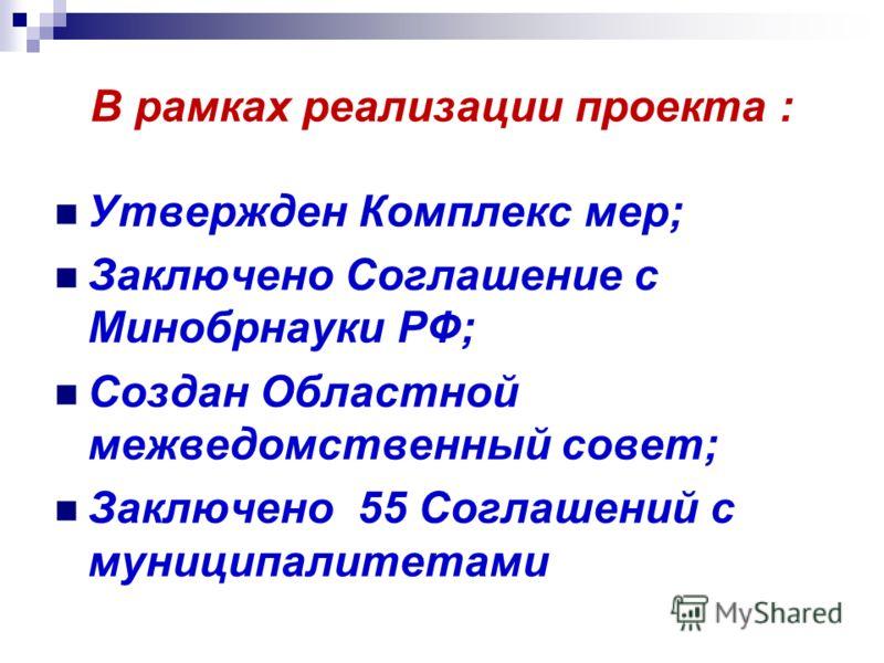 В рамках реализации проекта : Утвержден Комплекс мер; Заключено Соглашение с Минобрнауки РФ; Создан Областной межведомственный совет; Заключено 55 Соглашений с муниципалитетами