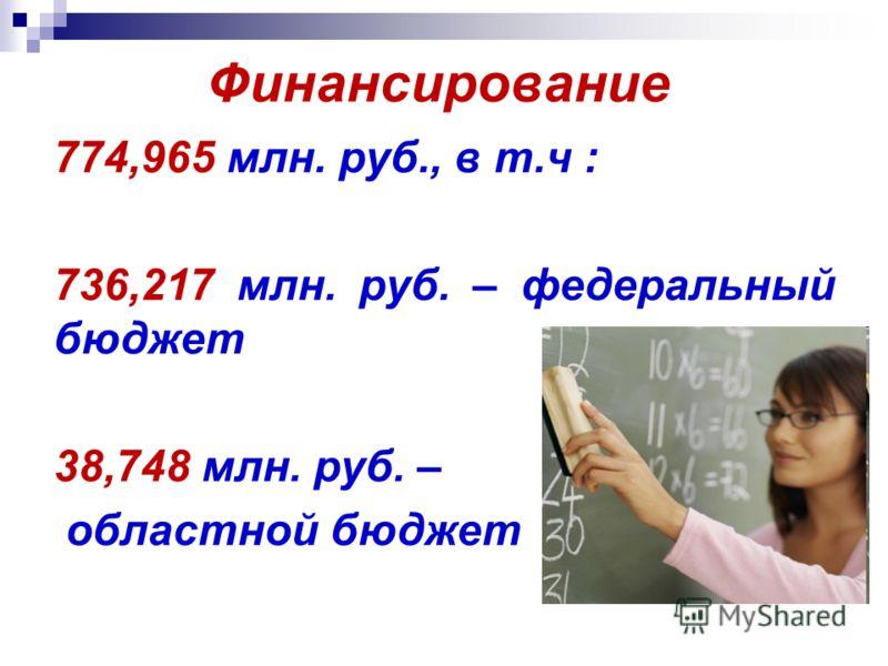Финансирование 774,965 млн. руб., в т.ч : 736,217 млн. руб. – федеральный бюджет 38,748 млн. руб. – областной бюджет