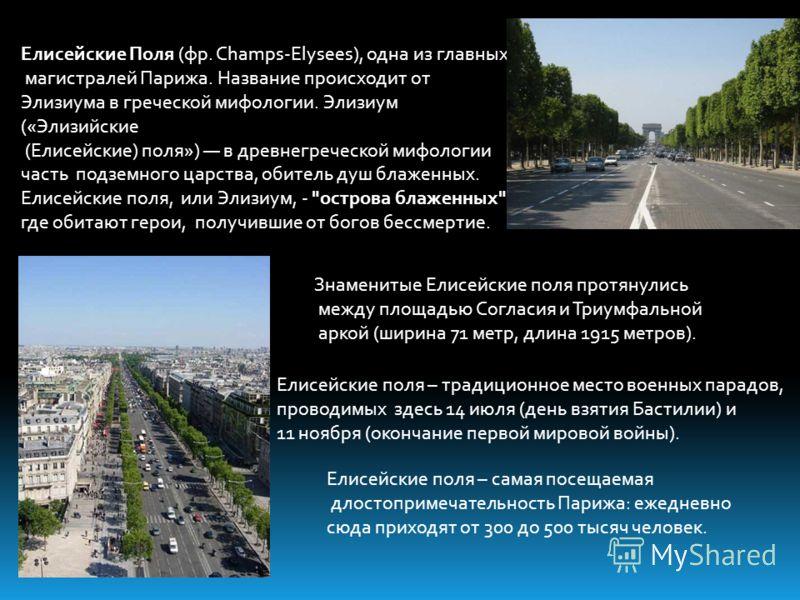 Елисейские Поля (фр. Champs-Elysees), одна из главных магистралей Парижа. Название происходит от Элизиума в греческой мифологии. Элизиум («Элизийские (Елисейские) поля») в древнегреческой мифологии часть подземного царства, обитель душ блаженных. Ели