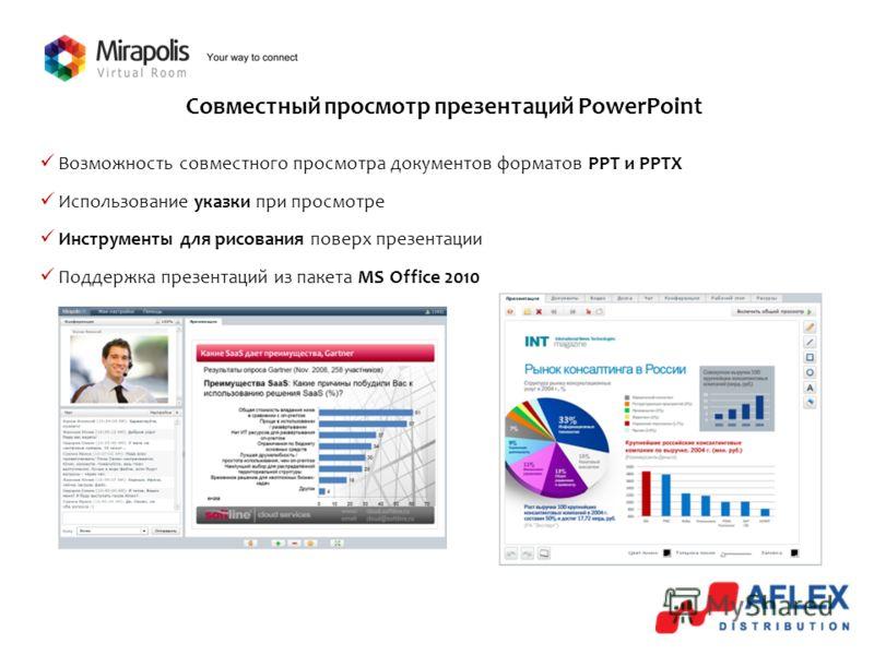 Совместный просмотр презентаций PowerPoint Возможность совместного просмотра документов форматов PPT и PPTX Использование указки при просмотре Инструменты для рисования поверх презентации Поддержка презентаций из пакета MS Office 2010