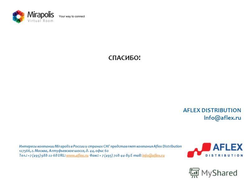 AFLEX DISTRIBUTION info@aflex.ru Интересы компании Mirapolis в России и странах СНГ представляет компания Aflex Distribution 127566, г. Москва, Алтуфьевское шоссе, д. 44, офис 60 Тел.: +7 (495) 988-22-68 URL: www.aflex.ru Факс: + 7 (495) 708-44-89 E-
