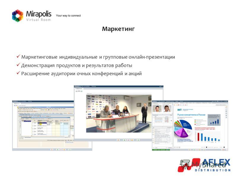 Маркетинг Маркетинговые индивидуальные и групповые онлайн-презентации Демонстрация продуктов и результатов работы Расширение аудитории очных конференций и акций