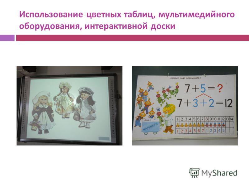Использование цветных таблиц, мультимедийного оборудования, интерактивной доски