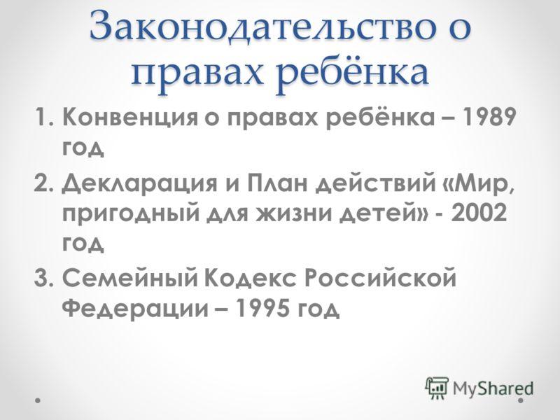 Законодательство о правах ребёнка 1.Конвенция о правах ребёнка – 1989 год 2.Декларация и План действий «Мир, пригодный для жизни детей» - 2002 год 3.Семейный Кодекс Российской Федерации – 1995 год