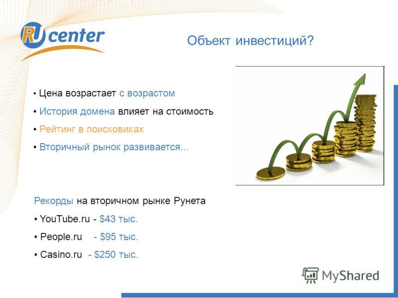 Объект инвестиций? Рекорды на вторичном рынке Рунета YouTube.ru - $43 тыс. People.ru - $95 тыс. Casino.ru - $250 тыс. Цена возрастает с возрастом История домена влияет на стоимость Рейтинг в поисковиках Вторичный рынок развивается...