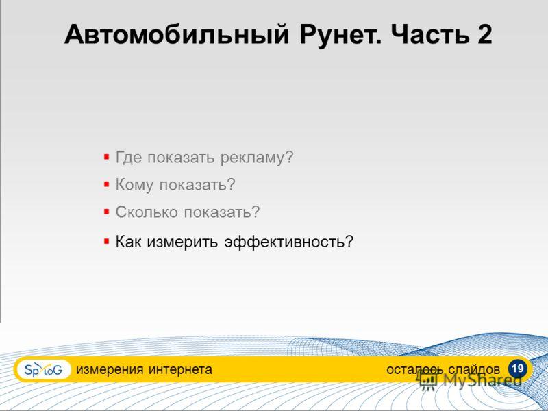 Автомобильный Рунет. Часть 2 измерения интернетаосталось слайдов Где показать рекламу? Кому показать? Сколько показать? Как измерить эффективность? 19
