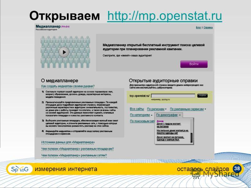 Открываемhttp://mp.openstat.ru измерения интернетаосталось слайдов 38