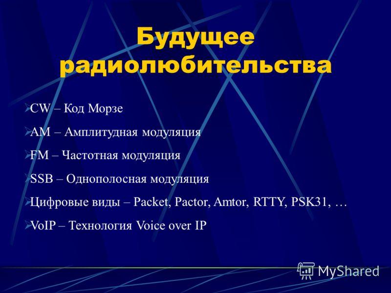 Будущее радиолюбительства CW – Код Морзе AM – Амплитудная модуляция FM – Частотная модуляция SSB – Однополосная модуляция Цифровые виды – Packet, Pactor, Amtor, RTTY, PSK31, … VoIP – Технология Voice over IP