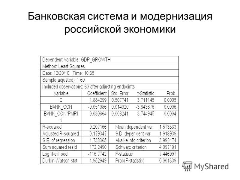 Банковская система и модернизация российской экономики