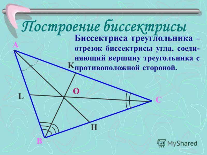 Построение биссектрисы A B C H K L O Биссектриса треуглольника – отрезок биссектрисы угла, соеди- няющий вершину треугольника с противоположной стороной.