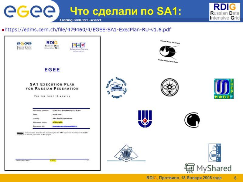 Enabling Grids for E-sciencE RDIG, Протвино, 18 Января 2005 года 5 Что сделали по SA1: https://edms.cern.ch/file/479460/4/EGEE-SA1-ExecPlan-RU-v1.6.pdf