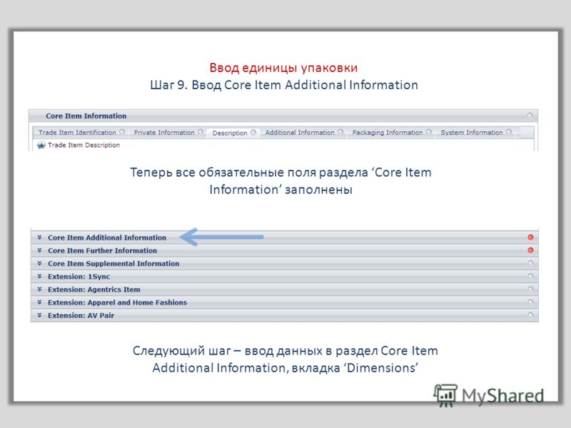 Ввод единицы упаковки Шаг 9. Ввод Core Item Additional Information Теперь все обязательные поля раздела Core Item Information заполнены Следующий шаг – ввод данных в раздел Core Item Additional Information, вкладка Dimensions