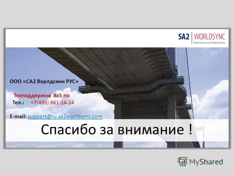 Спасибо за внимание ! ООО «СА2 Ворлдсинк РУС» Техподдержка 8х5 по Тел.: +7(495) 661-14-24 E-mail: support@ru.sa2worldsync.com