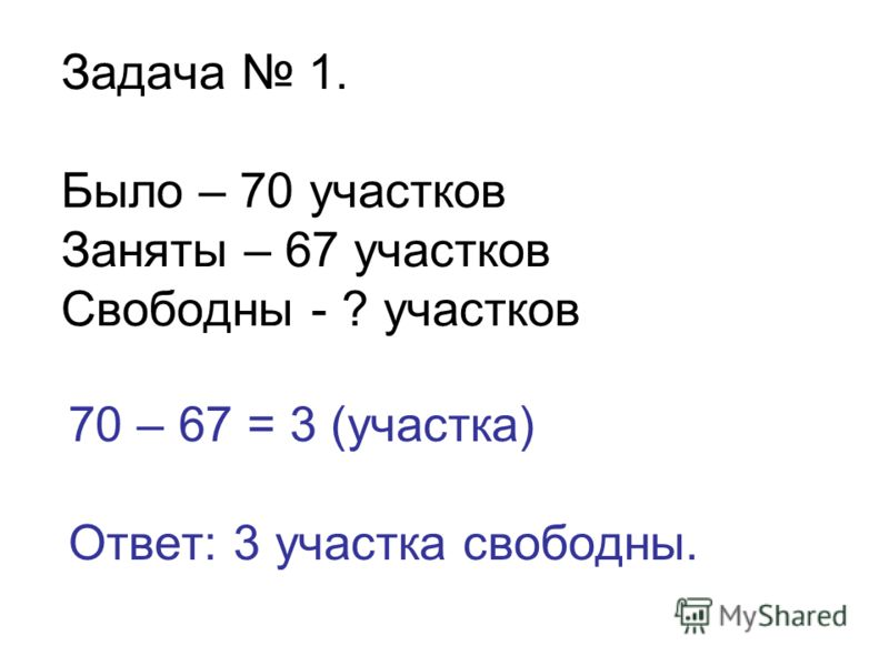 Задача 1. Было – 70 участков Заняты – 67 участков Свободны - ? участков 70 – 67 = 3 (участка) Ответ: 3 участка свободны.