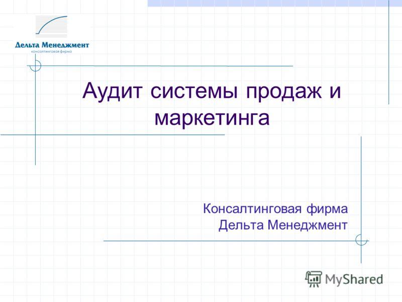 Аудит системы продаж и маркетинга Консалтинговая фирма Дельта Менеджмент