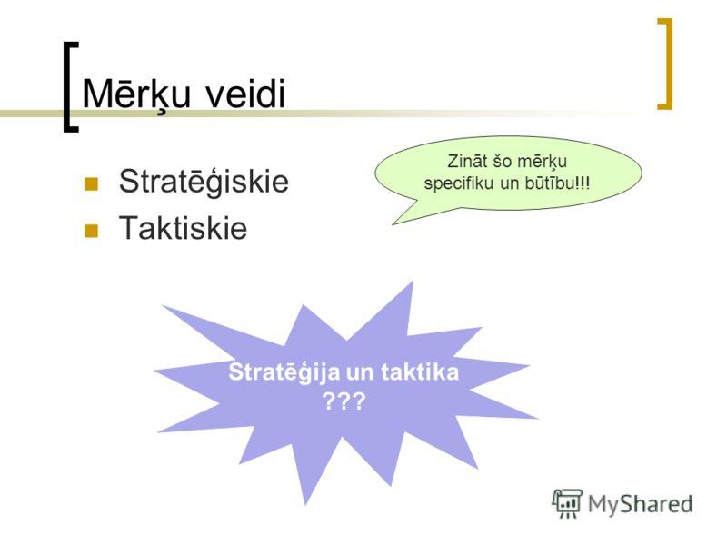 Mērķu veidi Stratēģiskie Taktiskie Stratēģija un taktika ??? Zināt šo mērķu specifiku un būtību!!!