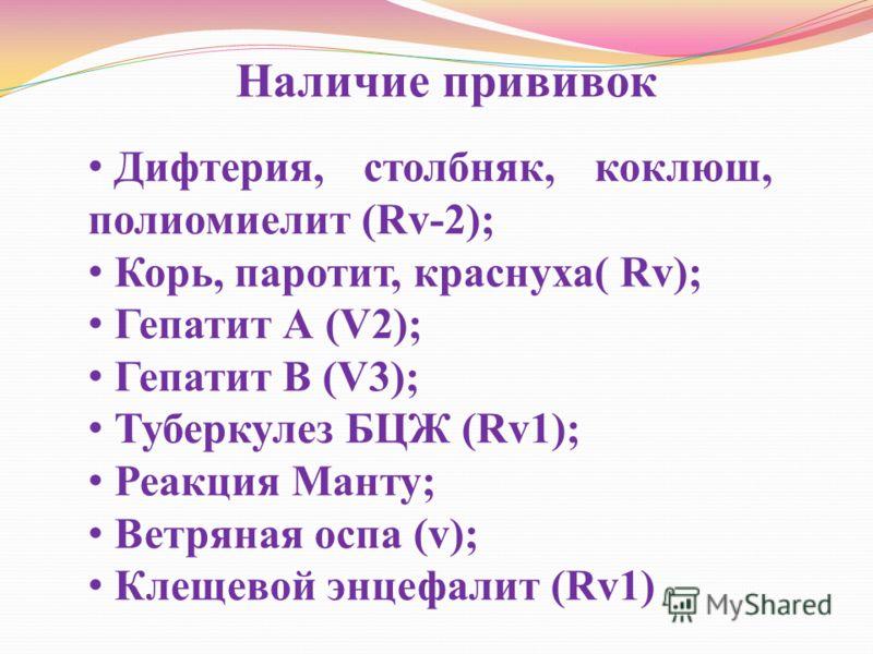 Наличие прививок Дифтерия, столбняк, коклюш, полиомиелит (Rv-2); Корь, паротит, краснуха( Rv); Гепатит А (V2); Гепатит В (V3); Туберкулез БЦЖ (Rv1); Реакция Манту; Ветряная оспа (v); Клещевой энцефалит (Rv1)