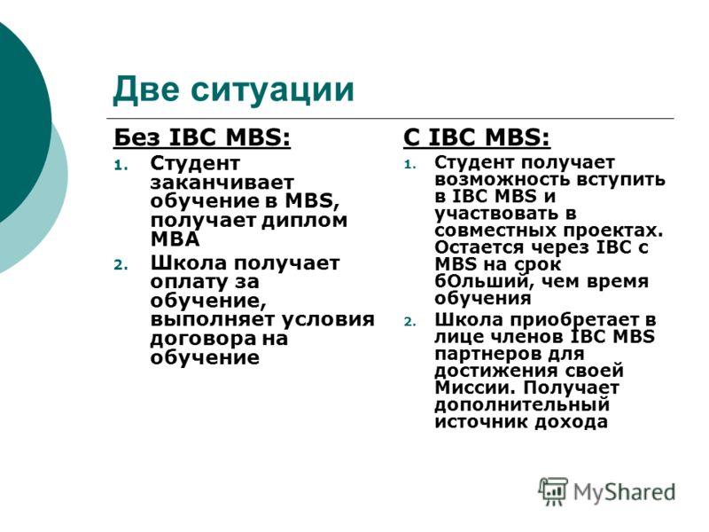 Две ситуации Без IBC MBS: 1. Студент заканчивает обучение в MBS, получает диплом МВА 2. Школа получает оплату за обучение, выполняет условия договора на обучение С IBC MBS: 1. Студент получает возможность вступить в IBC MBS и участвовать в совместных