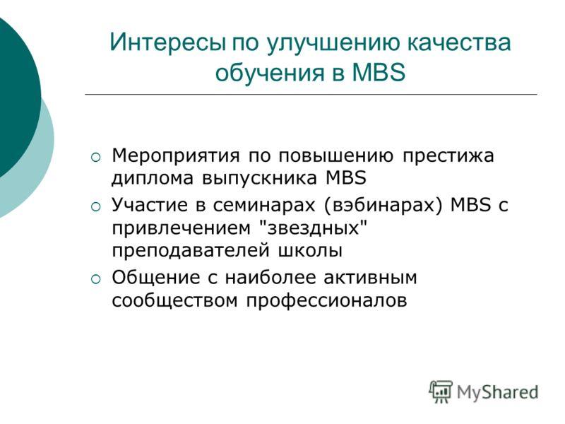 Интересы по улучшению качества обучения в MBS Мероприятия по повышению престижа диплома выпускника MBS Участие в семинарах (вэбинарах) MBS с привлечением звездных преподавателей школы Общение с наиболее активным сообществом профессионалов