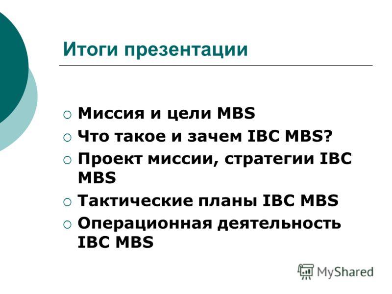 Итоги презентации Миссия и цели MBS Что такое и зачем IBC MBS? Проект миссии, стратегии IBC MBS Тактические планы IBC MBS Операционная деятельность IBC MBS