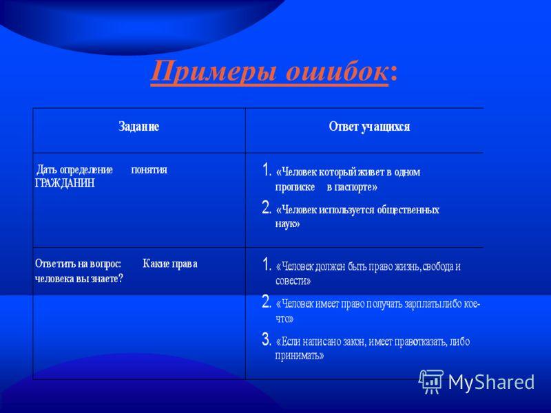 Примеры ошибок: