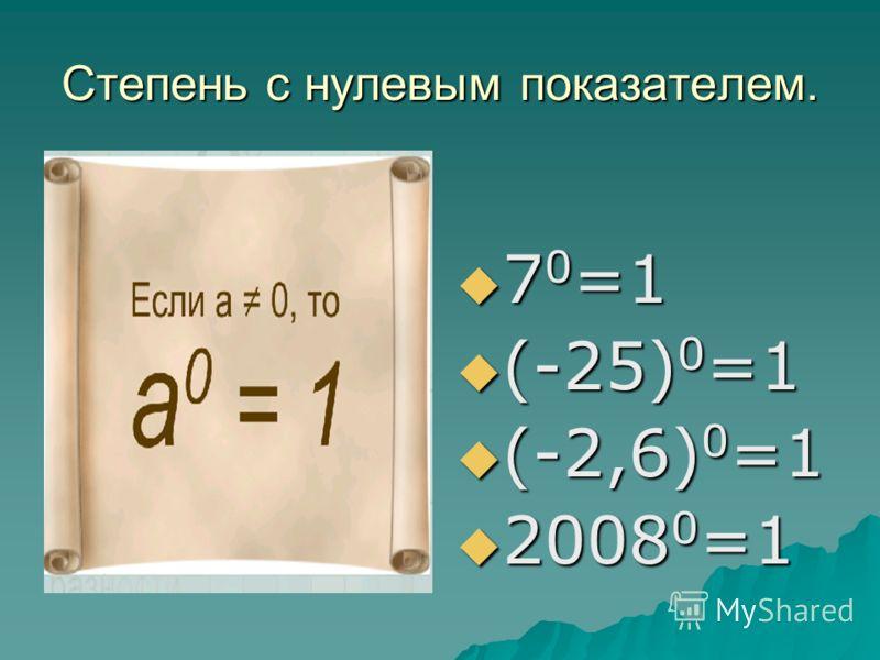 Степень с нулевым показателем. 7 0 =1 7 0 =1 (-25) 0 =1 (-25) 0 =1 (-2,6) 0 =1 (-2,6) 0 =1 2008 0 =1 2008 0 =1