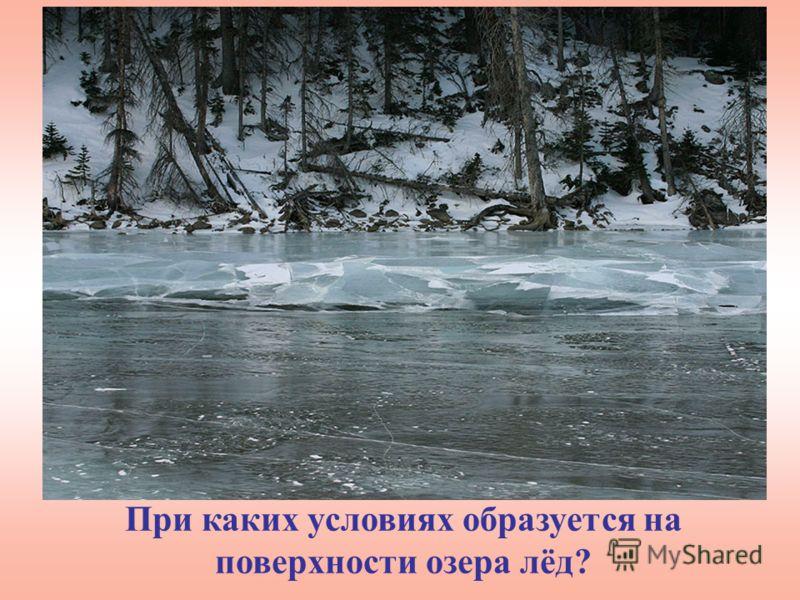 При каких условиях образуется на поверхности озера лёд?