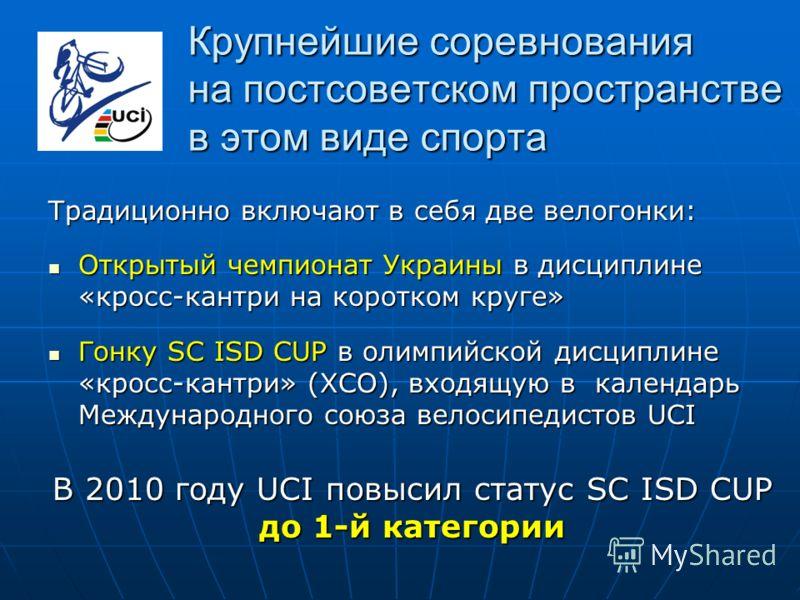 Крупнейшие соревнования на постсоветском пространстве в этом виде спорта Традиционно включают в себя две велогонки: Открытый чемпионат Украины в дисциплине «кросс-кантри на коротком круге» Открытый чемпионат Украины в дисциплине «кросс-кантри на коро