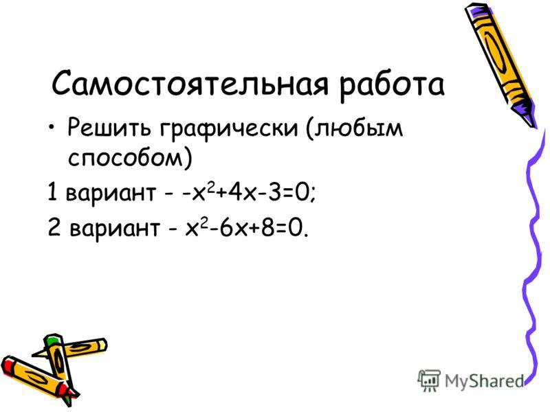 Самостоятельная работа Решить графически (любым способом) 1 вариант - -х 2 +4х-3=0; 2 вариант - х 2 -6х+8=0.